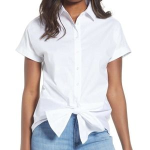 Gibson blouse white tie front top Petite